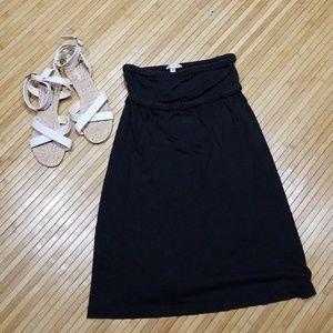 Solid black strapless dress